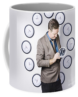 Time Management Business Man Looking At Clock Coffee Mug