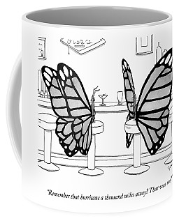 Two Butterflies Talking In A Bar Coffee Mug