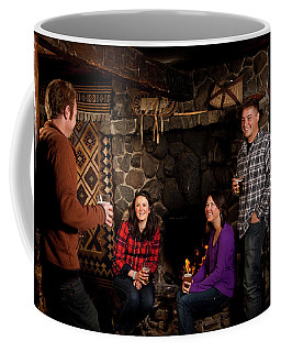 Two Men And Two Women Drinking Beer Coffee Mug