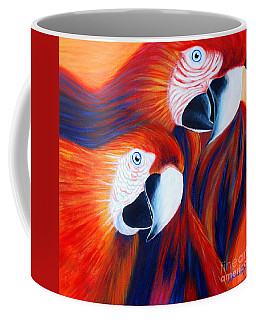 Coffee Mug featuring the painting Two Parrots. Inspirations Collection. by Oksana Semenchenko