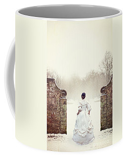 Victorian Woman In Snow Coffee Mug by Lee Avison