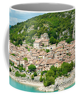 Village On A Hill At The Lakeside Coffee Mug