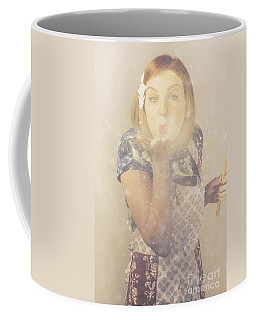 Vintage Cookery Girl Baking With Pinch Of Flour Coffee Mug