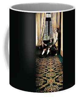 Vintage Explorers In Hotel Lobby Coffee Mug