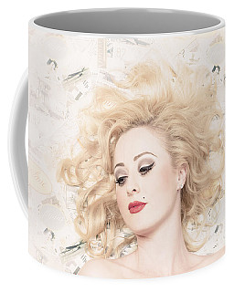 Vintage Pinup Girl With Classic Blond Hair Style Coffee Mug