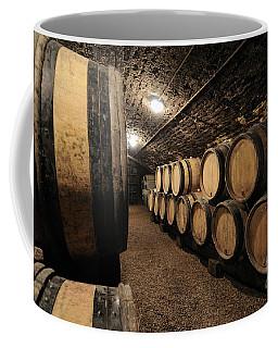 Wine Barrels In A Cellar. Cote D'or. Burgundy. France. Europe Coffee Mug