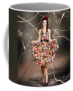 Woman Dancing In Colorful Floral Dress Outdoor Coffee Mug