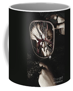 Woman With Broken Mirror And Shattered Reflection Coffee Mug