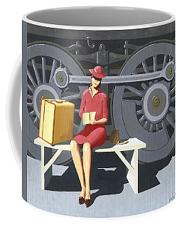 Coffee Mug featuring the painting Woman With Locomotive by Gary Giacomelli