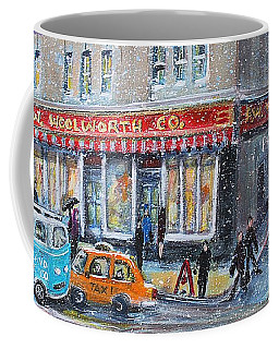 Coffee Mug featuring the painting Woolworth's Holiday Shopping by Rita Brown