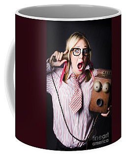 Worker In Shock During Bad News Communication Coffee Mug