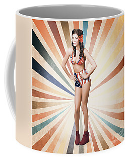 Young Sexy Brunette Woman. Vintage Makeup And Hair Coffee Mug