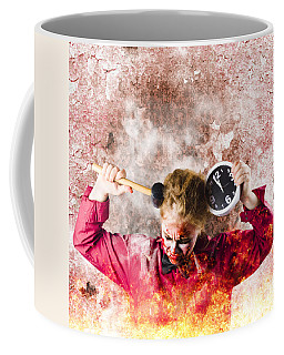Zombie In Fire Holding Clock. Out Of Time Coffee Mug