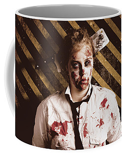 Zombie Standing On Outbreak Warning Background Coffee Mug