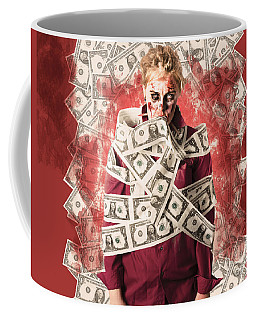 Zombie Tied Up In Financial Debt. Dead Money Coffee Mug