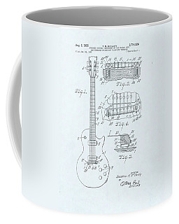 Guitar Patent Drawing On Blue Background Coffee Mug