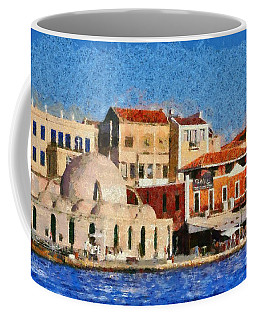 Painting Of The Old Port Of Chania Coffee Mug
