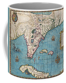 1591 De Bry And Le Moyne Map Of Florida And Cuba Coffee Mug by Paul Fearn