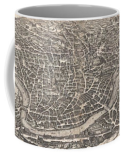 1652 Merian Panoramic View Or Map Of Rome Italy Coffee Mug by Paul Fearn