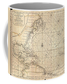 1683 Mortier Map Of North America The West Indies And The Atlantic Ocean  Coffee Mug