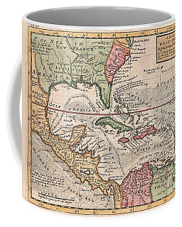 1732 Herman Moll Map Of The West Indies And Caribbean Coffee Mug