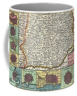 1747 La Feuille Map Of Catalonia Spain Coffee Mug by Paul Fearn