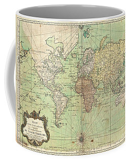 1778 Bellin Nautical Chart Or Map Of The World Coffee Mug by Paul Fearn