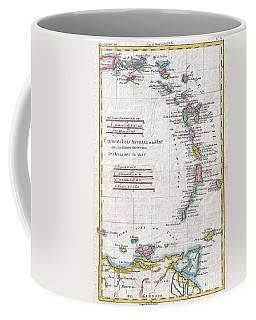 1780 Raynal And Bonne Map Of Antilles Islands Coffee Mug by Paul Fearn