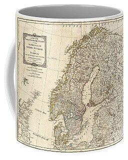 1794 Laurie And Whittle Map Of Norway Sweden Denmark And Finland Coffee Mug by Paul Fearn