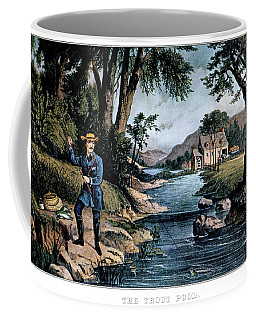 1850s The Trout Pool Fishing - Currier Coffee Mug