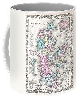 1855 Colton Map Of Denmark Coffee Mug by Paul Fearn