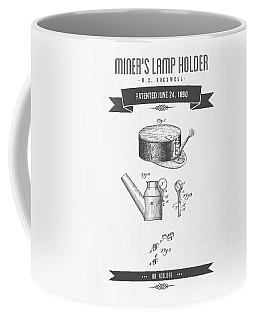1890 Miners Lamp Holder Patent Drawing - Retro Gray Coffee Mug