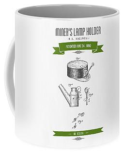 1890 Miners Lamp Holder Patent Drawing - Retro Green Coffee Mug