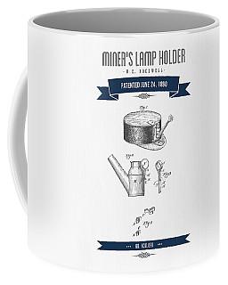 1890 Miners Lamp Holder Patent Drawing - Retro Navy Blue Coffee Mug
