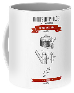 1890 Miners Lamp Holder Patent Drawing - Retro Red Coffee Mug
