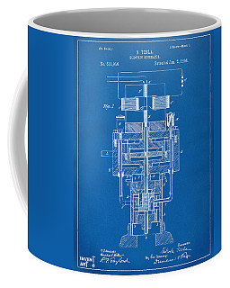 Coffee Mug featuring the drawing 1894 Tesla Electric Generator Patent Blueprint by Nikki Marie Smith