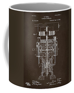Coffee Mug featuring the drawing 1894 Tesla Electric Generator Patent Espresso by Nikki Marie Smith