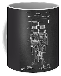 Coffee Mug featuring the drawing 1894 Tesla Electric Generator Patent Gray by Nikki Marie Smith