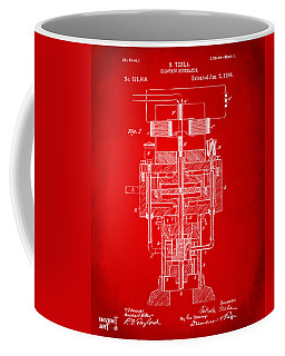 Coffee Mug featuring the drawing 1894 Tesla Electric Generator Patent Red by Nikki Marie Smith