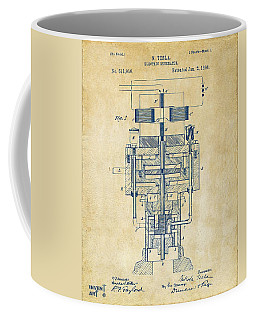 Coffee Mug featuring the drawing 1894 Tesla Electric Generator Patent Vintage by Nikki Marie Smith
