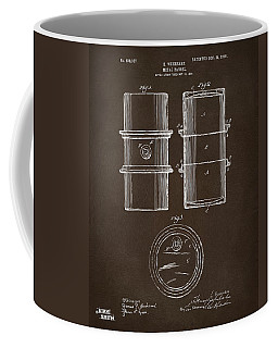 Coffee Mug featuring the drawing 1905 Oil Drum Patent Artwork Espresso by Nikki Marie Smith