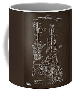 Coffee Mug featuring the drawing 1911 Oil Drilling Rig Patent Artwork - Espresso by Nikki Marie Smith