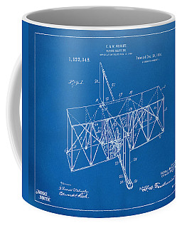 Coffee Mug featuring the drawing 1914 Wright Brothers Flying Machine Patent Blueprint by Nikki Marie Smith