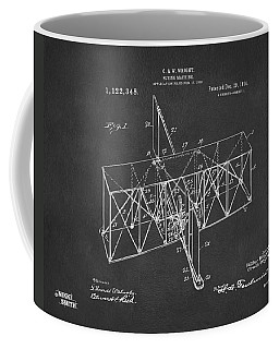 Coffee Mug featuring the drawing 1914 Wright Brothers Flying Machine Patent Gray by Nikki Marie Smith