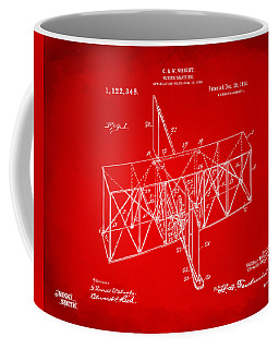 Coffee Mug featuring the drawing 1914 Wright Brothers Flying Machine Patent Red by Nikki Marie Smith