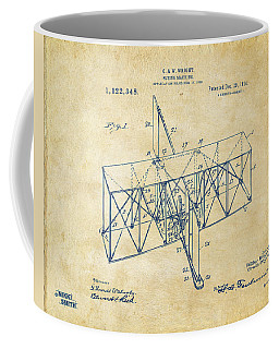 Coffee Mug featuring the drawing 1914 Wright Brothers Flying Machine Patent Vintage by Nikki Marie Smith