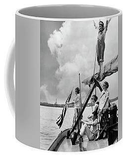 1920s Four Women And One Man On Sailboat Coffee Mug