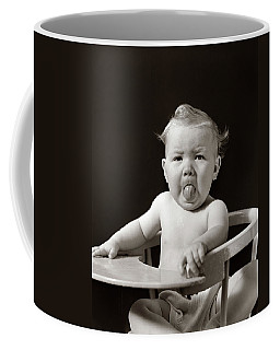1930s 1940s Portrait Of Baby Sticking Coffee Mug