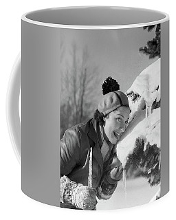 1930s 1940s Smiling Silly Woman Licking Coffee Mug