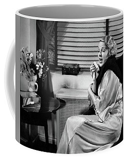 1930s Woman Sneezing Coughing With Cold Coffee Mug